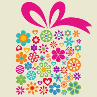 Gift Box Icon made from Flower Graphics with Pink Ribbon on Tan Background