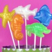 Soapy Lolly Favor Melt & Pour Soaps by Debbie Chialtas of Soapylove (Yellow Sea Star, Orange Sea Horse, White Shark, Blue Fish & Green Tortoise)