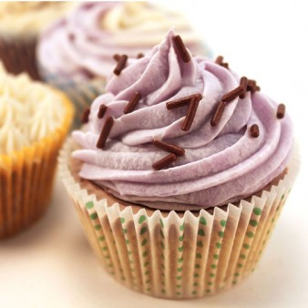 Purple Frosted Cold Process Cupcake Soap on Brown Cupcake Base with White Liner and Brown Sprinkles