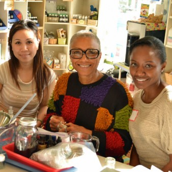 Three Smiling Students at an In-Person Class with Alice Duvernell at The Nova Studio