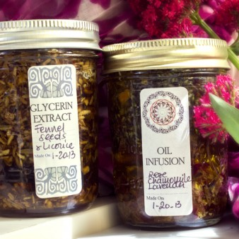 Glycerin Extract of Fennel Seeds & Licorice; Oil Infusion of Rose, Chamomile & Lavender - made by Alice Duvernell
