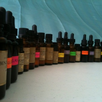 Row of Essential Oil Bottles
