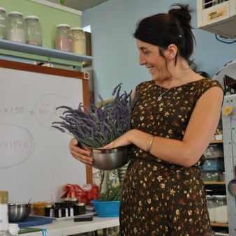 Alice Devernell Holds a Bowl of Lavender