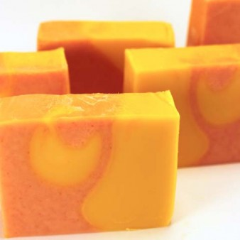 Sirona Springs Summer Garden Handmade Soap, Orange & Yellow Drop Swirl Vertical Layer, Colored with Carrot and Tomato Juice