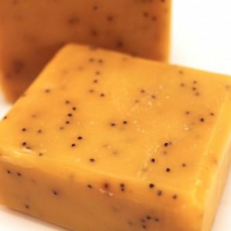 Lemon Poppy Cold Process Soap, Yellow with Poppy Seed Exfoliant