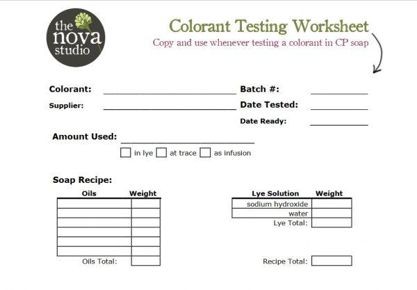 free colorant testing worksheet the nova studio. Black Bedroom Furniture Sets. Home Design Ideas